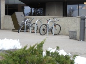 Brand new bike racks installed in 2014 at the Lethbridge Public Library